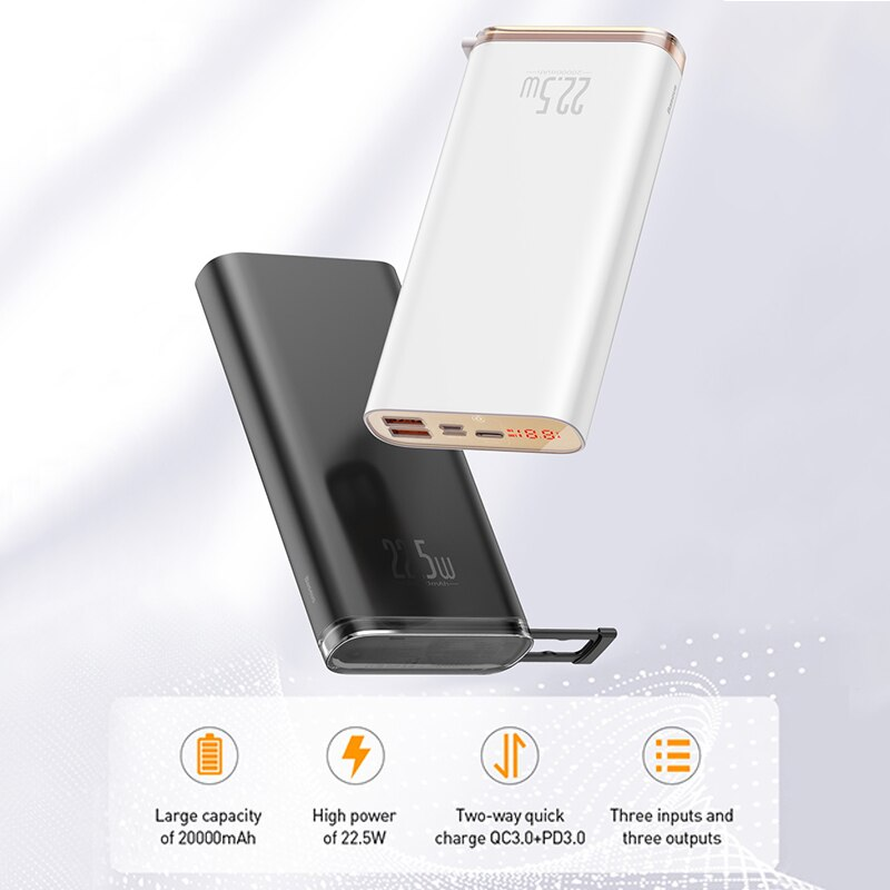 20000mAh Portable External Battery Fast Charger For iPhone Xiaomi Huawei